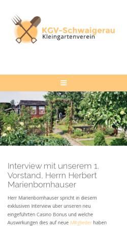 Vorschau der mobilen Webseite www.kgv-schwaigerau.de, Kleingartenverein Schwaigerau e.V.