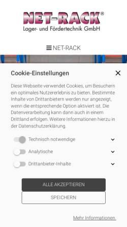 Vorschau der mobilen Webseite www.net-rack.de, NET-RACK Lager- und Fördertechnik GmbH