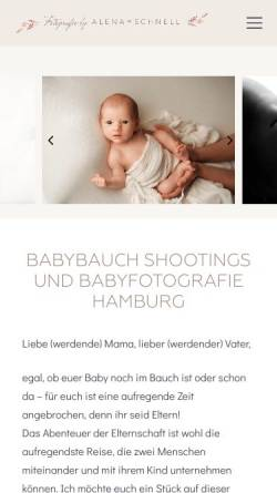 Vorschau der mobilen Webseite babyfotografie-hamburg.hamburg, Alena Schnell Fotografie