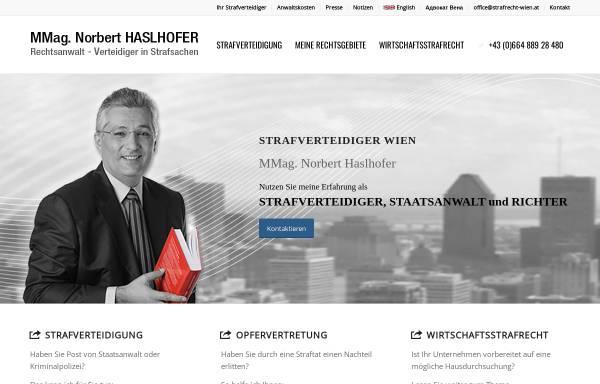 Vorschau von www.strafrecht-wien.at, Rechtsanwalt und Strafverteidiger MMag. Norbert Haslhofer