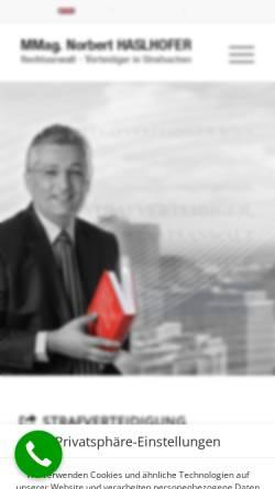 Vorschau der mobilen Webseite www.strafrecht-wien.at, Rechtsanwalt und Strafverteidiger MMag. Norbert Haslhofer