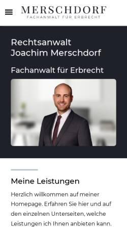 Vorschau der mobilen Webseite www.ra-merschdorf.de, Rechtsanwalt Merschdorf