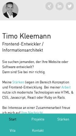 Vorschau der mobilen Webseite www.timokleemann.de, Timo Kleemann - DesignBits GbR