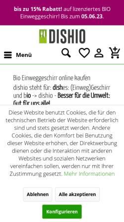 Vorschau der mobilen Webseite einweggeschirr-bio.de, dishio