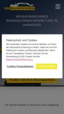 Vorschau der mobilen Webseite mn-baumaschinen.de, MN-Baumaschinen