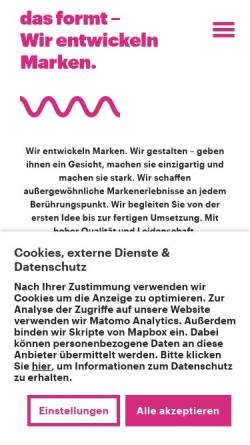 Vorschau der mobilen Webseite www.dasformt.de, das formt - Büro für Kommunikation & Design GbR