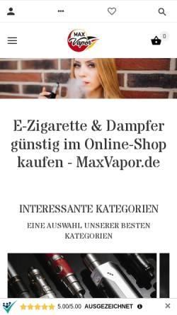 Vorschau der mobilen Webseite maxvapor.de, MaxVapor