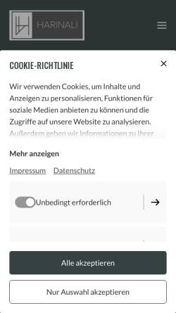 Vorschau der mobilen Webseite www.harinali.de, HARINALI Immobiliengruppe