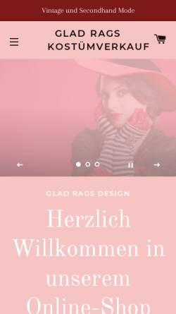 Vorschau der mobilen Webseite shop.gladrags.de, Glad Rags Kostümverkauf