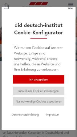 Vorschau der mobilen Webseite www.did.de, did deutsch-institut