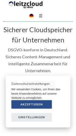 Vorschau der mobilen Webseite leitz-cloud.com, LeitzCloud by vBoxx GmbH