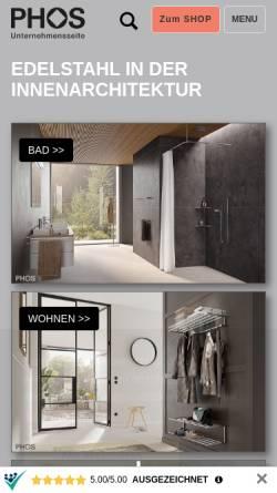 Vorschau der mobilen Webseite www.phos.de, PHOS Edelstahl Design