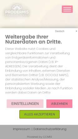 Vorschau der mobilen Webseite kosmetik-brenk.de, PRODERMIS Kosmetik-Praxis