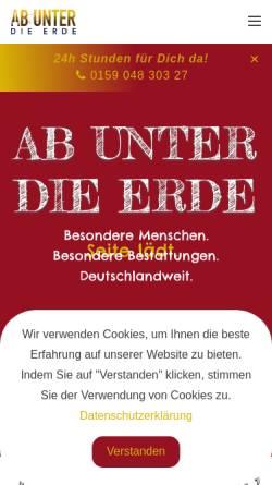 Vorschau der mobilen Webseite www.ab-unter-die-erde.de, Ab unter die Erde