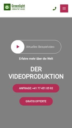Vorschau der mobilen Webseite www.greenlightvision.ch, Greenlight Videoproduktionen