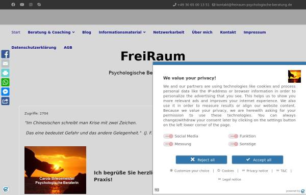 Vorschau von www.freiraum-psychologische-beratung.de, FreiRaum