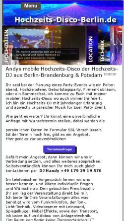 Vorschau der mobilen Webseite hochzeits-disco-berlin.de, Hochzeits- Disco DJ Andy Randy