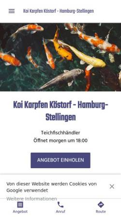 Vorschau der mobilen Webseite koi-karpfen-koestorf-filiale-hamburg.business.site, Koi Karpfen Köstorf