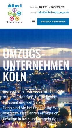 Vorschau der mobilen Webseite www.allin1-umzuege.de, All in 1 Umzüge