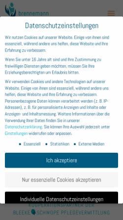 Vorschau der mobilen Webseite www.brennemann-pflegevermittlung.de, Brennemann Pflegevermittlung