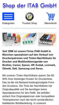 Vorschau der mobilen Webseite www.itab-druckertinte.de, ITAB GmbH