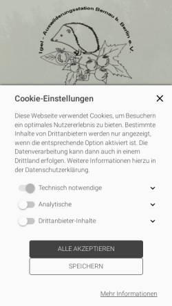 Vorschau der mobilen Webseite www.igel-auswilderungsstation-bernau.de, Igel Auswilderungsstation Bernau b. Berlin e.V.