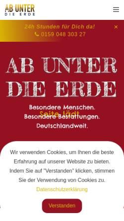 Vorschau der mobilen Webseite ab-unter-die-erde.de, Bestattungsunternehmen Ab unter die Erde