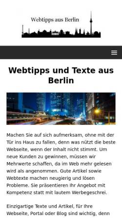 Vorschau der mobilen Webseite www.webtipps-fuer-berlin.de, Webtipps aus Berlin