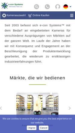 Vorschau der mobilen Webseite www.e-consystems.com, e-con Systems