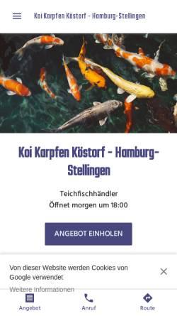 Vorschau der mobilen Webseite koi-karpfen-koestorf-filiale-hamburg.business.site, Koi Karpfen Köstorf - Hamburg-Stellingen