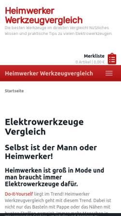 Vorschau der mobilen Webseite heimwerker-werkzeugvergleich.info, Heimwerker Werkzeugvergleich