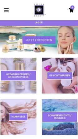 Vorschau der mobilen Webseite www.swisabeauty.de, Hautpflegeprodukte mit Mineralien und Salz aus dem Toten Meer