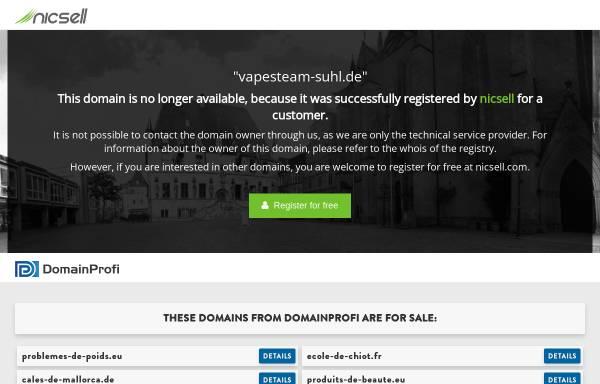 Vorschau von www.vapesteam-suhl.de, VapeSteam UG (haftungsbeschränkt)