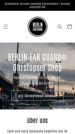 Vorschau der mobilen Webseite www.berlinearguard.com, BERLIN EAR GUARD®