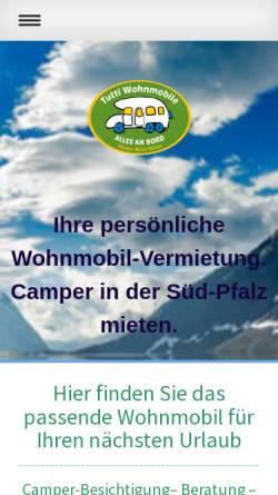 Vorschau der mobilen Webseite www.tutti-wohnmobile.de, Tutti Wohnmobile