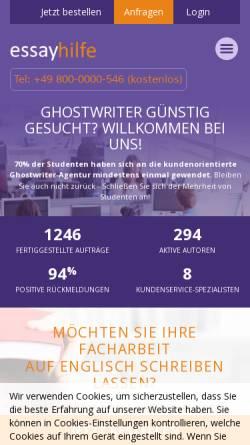 Vorschau der mobilen Webseite essayhilfe.de, Essayhilfe
