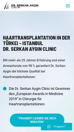 Vorschau der mobilen Webseite drserkanaygin.de, Dr. Serkan Aygin Clinic