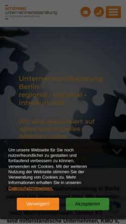 Vorschau der mobilen Webseite schoenfeld-unternehmensberatung.de, Schönfeld Unternehmensberatung