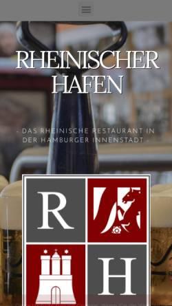 Vorschau der mobilen Webseite rheinischerhafen.de, Restaurant Rheinischer Hafen