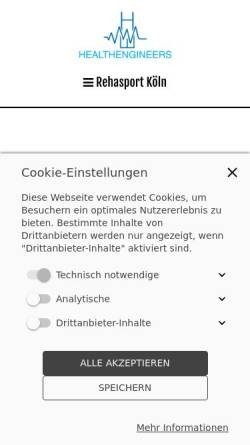 Vorschau der mobilen Webseite www.reha-sport-koeln.de, Rehasport im Healthengineers Köln Kalk