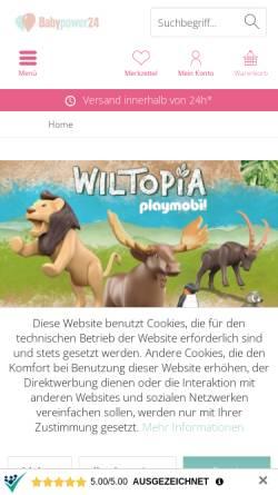 Vorschau der mobilen Webseite www.babypower24.de, Babypower24