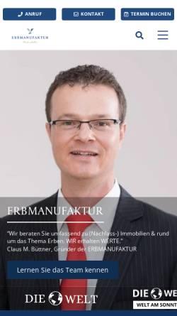 Vorschau der mobilen Webseite erbmanufaktur.de, Erbmanufaktur