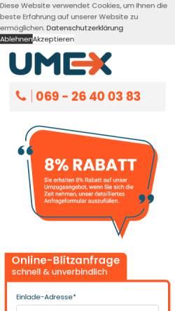 Vorschau der mobilen Webseite www.umex-umzuege.de, Umzüge mit Kompetent & Erfahrung