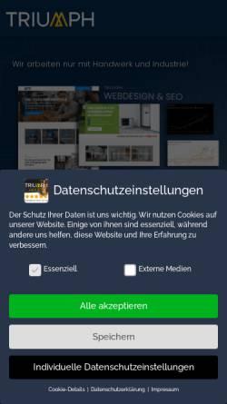 Vorschau der mobilen Webseite triumph-agentur.de, Triumph Agentur