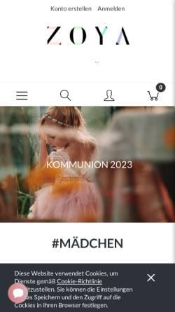 Vorschau der mobilen Webseite www.zoyafashion.de, ZOYA Fashion