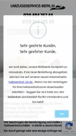 Vorschau der mobilen Webseite umzugsservice-berlin.com, Halteverbot Berlin - Umzugservice-Berlin UG