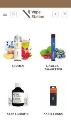 Vorschau der mobilen Webseite vapestation.de, Vape Station E-Zigaretten Shop Köln