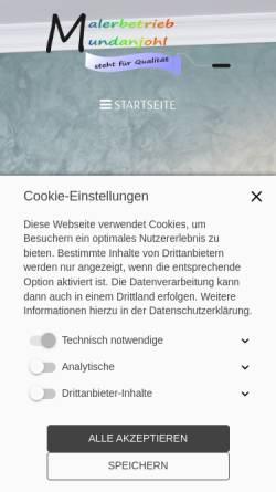 Vorschau der mobilen Webseite www.malerbetrieb-mundanjohl.de, Malerbetrieb Kevin Mundanjohl