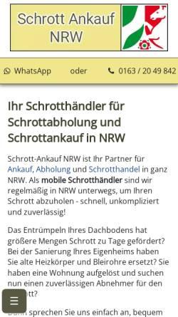 Vorschau der mobilen Webseite www.schrott-ankauf-nrw.de, Schrottabholung NRW