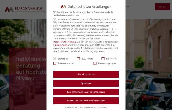 Vorschau von www.marco-mahling.de, Marco Mahling Finanzdienstleistungen GmbH & Co. KG